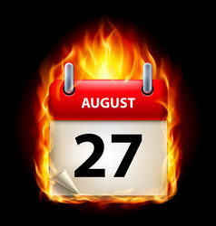 twenty-seventh august in calendar burning icon on vector image vector image
