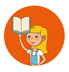 girl with text book education icon vector image