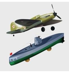Military aircraft and submarine vector image
