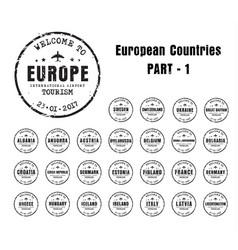 old worn stamps with the name of the european vector image