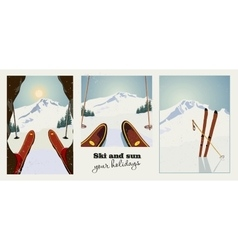 Set of winter ski vintage posters skier getting vector
