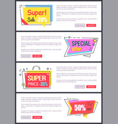 super sale -20 off special offer banners sticker vector image vector image