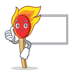 thumbs up with board match stick character cartoon vector image vector image