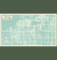 Anchorage alaska usa city map in retro style vector