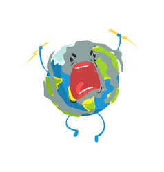 Angry cartoon earth planet character lightning vector