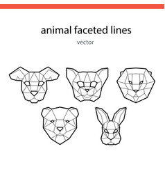 Animal faces of the line vector
