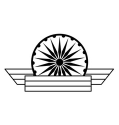 ashoka chakra symbol icon cartoon in black and vector image
