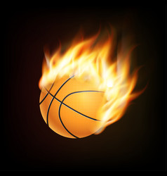 Basketball ball in fire 3d imitation fireball in vector