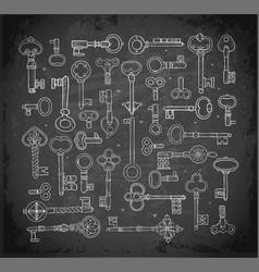 big collection doodle vintage keys on vector image