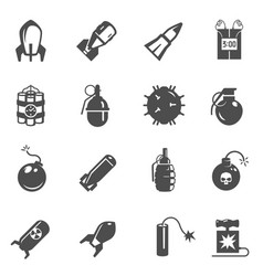 bombs grenades bold black silhouette icons set vector image