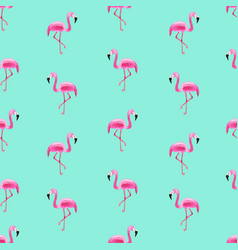 bright seamless pattern with pink flamingoes vector image