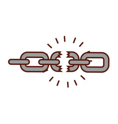 Broken chain isolated icon vector