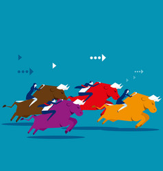 Business people ride bull and competition concept vector