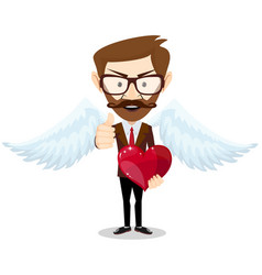 businessman angel and red heart vector image