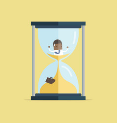 businessman be trapped in hourglass vector image