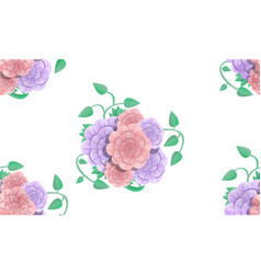 camellia bouquet pattern cartoon style vector image