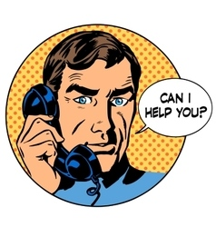 Can i help you man phone question online support vector image