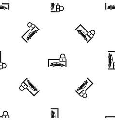 car and padlock pattern seamless black vector image