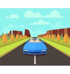 Car on road with outdoor landscape flat vector