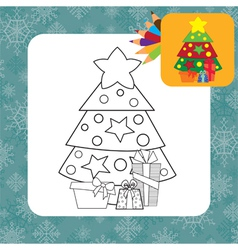 Christmas tree coloring page vector