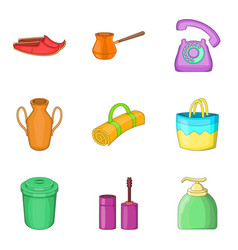 Cleaning in the building icons set cartoon style vector