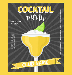 Cocktail menu black vintage template vector