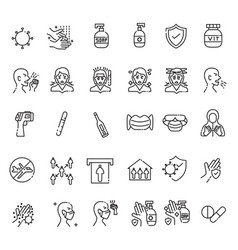 Corona virus icon set with outline style pixel vector