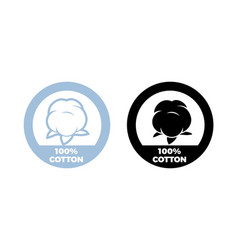cotton icon 100 natural textile label vector image