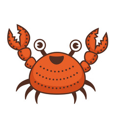 crab cartoon character with claws and funny face vector image