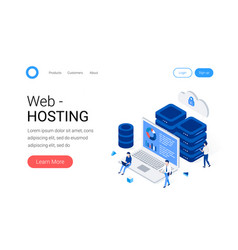 data center and web hosting isometric concept vector image