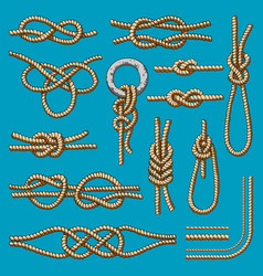Different sea boat knots scheme set vector