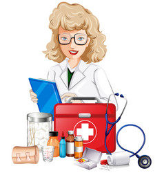 Doctor and medical equipments vector