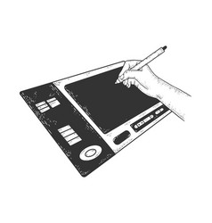 drawing on graphics tablet sketch vector image