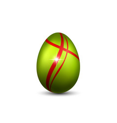 Easter egg 3d icon green red egg isolated white vector