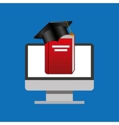 education online global cap graduation book vector image