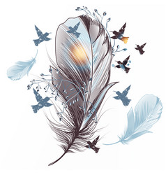 elegant feather with birds vector image