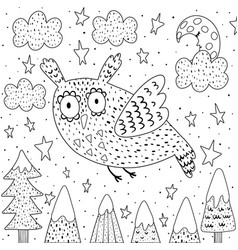 Fantasy owl flying in sky coloring page vector