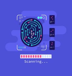 fingerprint scanning technology concept banner vector image