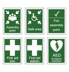 First Aid and Assembly Signs vector