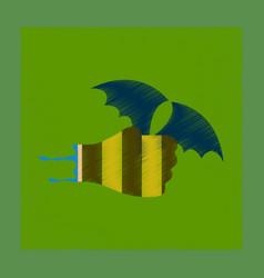 Flat shading style icon hand bat vector