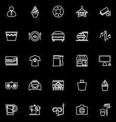 Franchisee business line icons on black background vector image