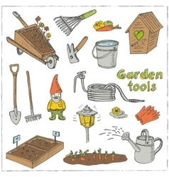 Garden tools doodle set Various equipment vector image