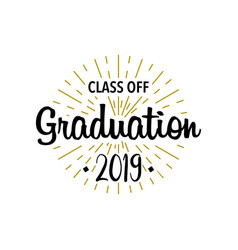 graduation class off sunburst with text template vector image