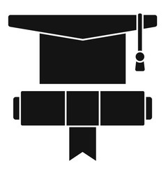 Graduation hat diploma icon simple style vector