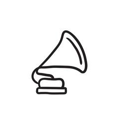 Gramophone sketch icon vector