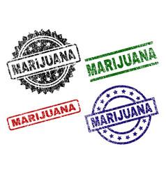 Grunge textured marijuana seal stamps vector