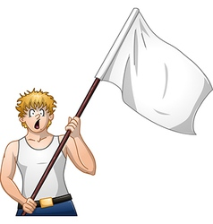Guy Holds White Flag and Shouts vector image