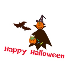 Halloween Pumpkin with Candy Basket vector image