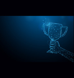 hand holding trophy cup tophy form lines vector image