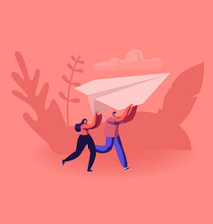 Happy couple running with paper airplane in hands vector